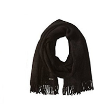 $125 CALVIN KLEIN MEN'S UNISEX BLACK KNITTED ACRYLIC WINTER MUFFLER SCARF