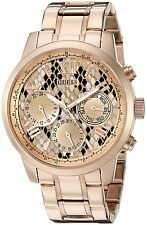Guess Women's U0330l16 Rose Gold-Tone Multi-Function Watch With Python Print