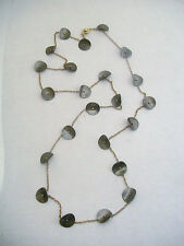 Fashion Jewelry Gold Tone Necklace Hematite Disk With USA Pat 2007 Stamped Clasp