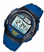 Casio Men's Blue Rubber Day Date Alarm Lap Timer Sport Digital Watch W734-2AV