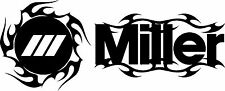 MILLER WELDER FLAMES DIE CUT DECAL STICKER - SET OF 2 - BLACK
