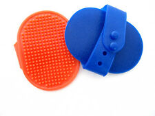 New Rubber Curry Brushes w/ Handle Grooming Shampoo Brush for Dogs Cats Pets