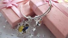 BEAUTY AND THE BEAST PRINCESS BELLE CHARM  BANGLE SIZE 4,5,6,7 YEARS GIFT BOXED