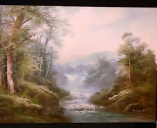 ORIGINAL OIL PAINTING BY R.DANFORD 1960. OF A BEAUTIFUL WATERFALL $300.00 24X36