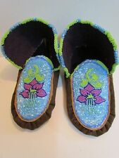 EXQUISITE, NATIVE AMERICAN FULLY BEADED MOCCASINS 9.5 INCHES, unisex, BABY BLUE