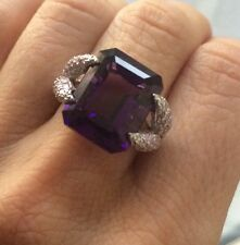 $500 12.02CT! NATURAL  EMERALD CUT AMETHYST & WHITE TOPAZ SILVER RING SIZE 6.5