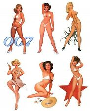 6 VINTAGE RETRO PIN UP GIRLS FIFTIES BIKINI STICKERS/Car DECALS Baron Von Lind
