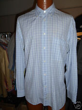 BRIONI BLUE CHECKERED DRESS SHIRT SIZE XL  Beautiful Condition.!  From Italy..!
