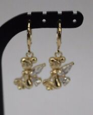 BABY GIRLS 9K GOLD PLATED ZIRCON CRYSTAL ANGEL DANGLE DROP EARRINGS.