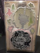 """Tim Holtz Alterations """"SEASONS GREETINGS"""" Cling Rubber Stamp + Framelits Die Set"""