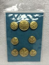 Vintage Gold Tone Replacement Set of 8 Blazer Buttons Fleur Sword Eagle Griffin