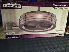 A Fanimation FP7964BN Beckwith Ceiling Fan With Light In Brushed Nickel  L@@k!