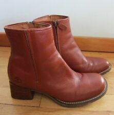 Timberland Smart Comfort System Red Leather Ankle Boot Women's Size 8.5