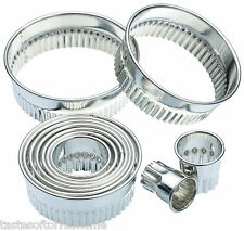 Kitchen Craft Set of 11 Fluted Round Biscuit, Pastry Cookie Cutters & Tin