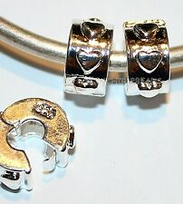 2x HEART STOP LOCK CLIP STERLING SILVER BEADS LOT L42 FITS EURO DIY MURANO CHARM