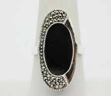 Sterling Silver .925 Art Deco Modern Onyx Marcasite Cocktail Ring Size 9   H830