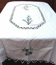 "Battenburg Lace Tablecloth in White Cotton Blue Floral 68x84"" Oblong"