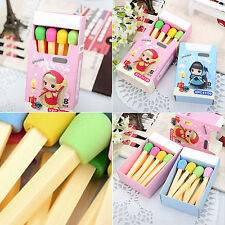 8pcs/lot Fashion Cute Kawaii Korean Rubber Pencil Eraser Sweet Stationery Set FA