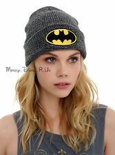 DC Comics Batman Logo Watchman Knit Beanie Hat Cap Black Embroidered NEW