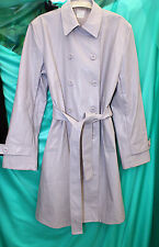 womans lilac faux leather trenchcoat raincoat 44 chest 37 long vinyl double brea