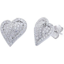 FINE PAVE SET HEART  SOLID .925 Sterling Silver Earring
