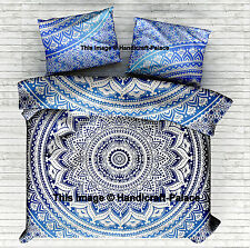 Indian Blue Ombre Mandala Hippie Bohemian Reversible Double Duvet Pillow Cover