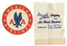 ORIGINAL 1950's AMERICAN AIRLINES LUGGAGE LABEL * STICKER IN ORIG BAG OLD AD365