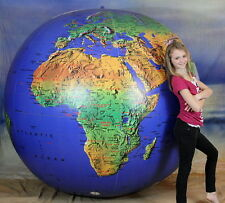 GIANT 6` Inflatable Dark Blue TOPOGRAPHICAL Earth Globe Beach Ball - HUGE!