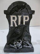 halloween Decoration prop Plaster Tombstone graveyard RIP crow skull bones #6