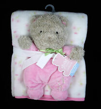 Carters Child of Mine Baby Blanket & Plush Teddy Bear 2 Pc Gift Set Pink Flowers