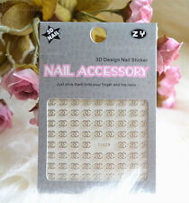 Brand New Silver 3D Nail Art Stickers Designer Label Nail Stickers