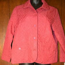 NWT ALFRED DUNNER Womens Hot Pink Quilted Floral Coat Jacket Blazer Size 18 1XL