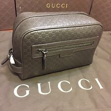 NEW Gucci Micro GG Brown Leather Toiletry Travel Bag