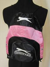 slazenger backpack sports logo drawstring bag, pink and black