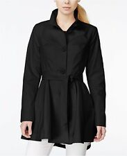 NWT BETSEY JOHNSON SzL SINGLE BREASTED FIT AND FLARE TRENCH COAT BLACK