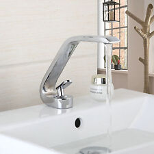 Modern Deck Mounted Bathroom Basin Sink Faucet Mixer Taps Chrome Single Handle