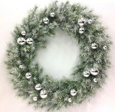 Angel Pine Wreath~Silver Ball~~Glitter~White Tips. Wire Frame. Artificial. 30""