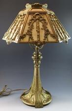 1910 Art Nouveau Caramel Slag Glass Shade & Open Work Metal Overlay Table Lamp