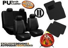 Black PU Leather Seat Covers Floor Mats BONUS 200amp Booster Cable Included CS1