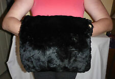 ANTIQUE VICTORIAN FUR HAND MUFF - BLACK IN COLOUR