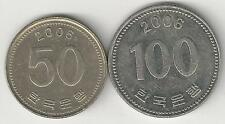 2 DIFFERENT COINS from SOUTH KOREA - 50 & 100 WON (BOTH DATING 2006)