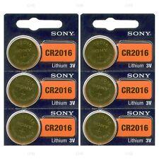 6 NEW SONY CR2016 3V Lithium Coin Battery Expire 2026 FRESHLY NEW - USA Seller