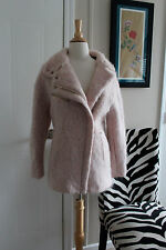 Zara mohair wool alpaca biker jacket coat funnel collar pink M MEDIUM NWT $199