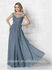 Cameron Blake by Mon Cheri Beaded Evening Gown in Light Blue Grey (Dusk) Size 8