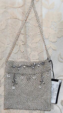 BEBE RARE VINTAGE W/TAGS MESH BEADED BAG LOOP & BUTTON CLOSURE CRYSTALS SHOULDE