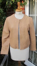 chic new MASSIMO DUTTI camel boxy LEATHER JACKET satin lined xl uk16 bnwt