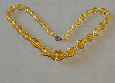 Vintage Art Deco Amber Glass Bead Necklace Choker Orange Sterling Silver Clasp