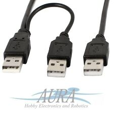USB 2.0 Type A Male to Dual 2x USB A Male Y Splitter Cable Phone UK C304