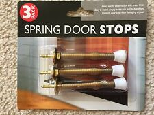 Set of 3 Spring door stop Brass Finish Wall Door Guards