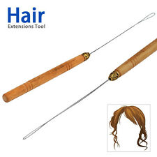 Micro Ring Hair Extension Wooden Loop Needle Threader Thread Feather Hook Tool